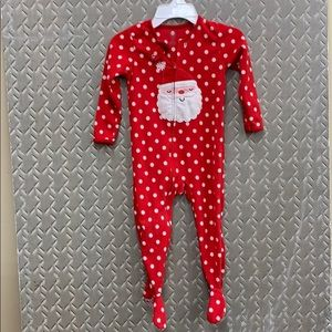 Santa footie pajamas on polka-dot